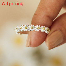 vintage daisy ringar för kvinnor söt blomma ring justerbar öppen c A