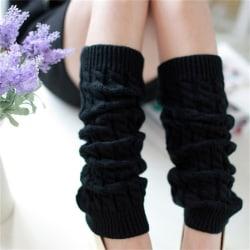 Kvinnors vinterstickade virkade stickade benvärmare Legging Boot Cov Black