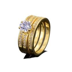 18K Guldfyllda gulddoublé Ring CZ Förlovning 19