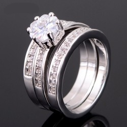 18K VIT Guldfyllda gulddoublé Ring CZ Förlovning 18