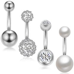 Navelpiercingar 4 st / set silver