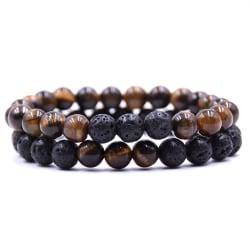 2 st / set naturliga stenar armband