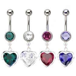Navelpiercing Piercing smycken CZ kärlek hjärta BLÅ