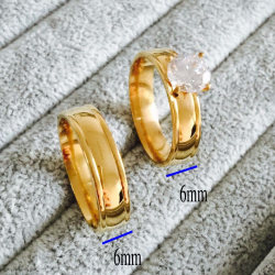 Rostfritt stål ring  18k guld filled CZ 2ST/SET 19