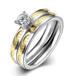 Rostfritt stål ring Förlovningring 2 st / set CZ 16