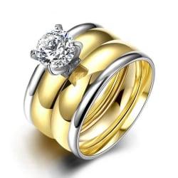 Rostfritt stål ring Förlovningring 2 st / set CZ 18