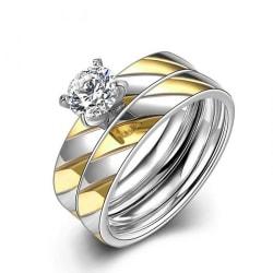 Rostfritt stål ring Förlovningring CZ 16