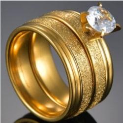 Rostfritt stål ring  förlovningsring 2 st / set zirkon 17