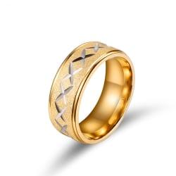 Rostfritt stål ring guld x mönster 18