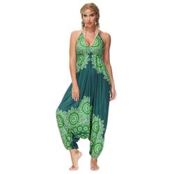 Dam Harem Pants Tie Rope Suspender Halter One-piece Bloomers Green