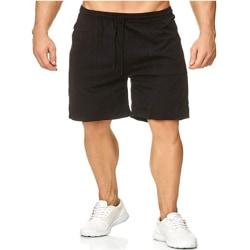 Matchande bomulls- och linne-spetsficka för män Black XL