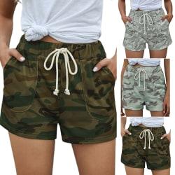 Camouflage Shorts / Hög midja dragsko / kvinnor Green M