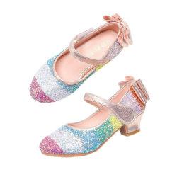Flickor Rainbow Sequined Princess Shoes Bankett Dance High Heels Pink 30