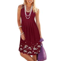 Fashionabla ärmlös blommig smal klänning med hög midja Wine red L