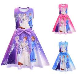 Fryst barnklänning - Flickor sommar ärmlös prinsessa Dre Pink 120CM