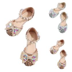 Flickor Crystal Princess skor Baotou mjuka sulor sandaler rosett knut Champagne 19.5cm