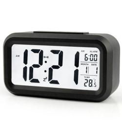 Stor LCD-skärm Mute Smart Light elektronisk väckarklocka Black