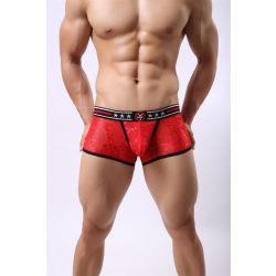 Lace Boxershorts för män Sexig andningsbar underdel med låg midja Black XL