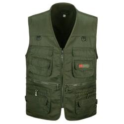 Herr sportjacka Multi Pocket Zipper Loose Zip Snabbtorkad jacka Green 3XL