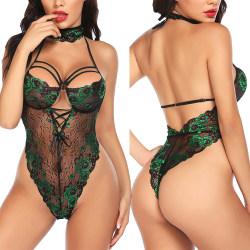 Kvinnors sexiga helunderkläderremmar med genomskinlig body green L