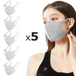 5 Pack Tvättbar mask Munskydd Skyddsmask Grå Grå