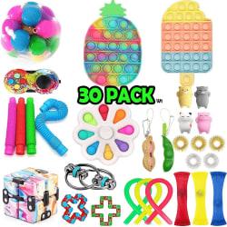 30 Pack Fidget Toy Set Pop it Sensory Toy för Vuxna & Barn (Pack multifärg