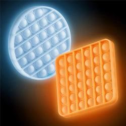 Pop it Fidget Sensory Leksak - Självlysande - Fyrkant - Orange