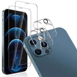 iPhone 12 Pro Max [4-PACK] 2 X Linsskydd Härdat Glas + 2 X Härda