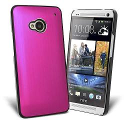 Metal Brushed Baksideskal till HTC One (M7) (Magenta)