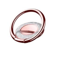 Metal Glitter Ringhållare till Mobiltelefon - Rose Gold