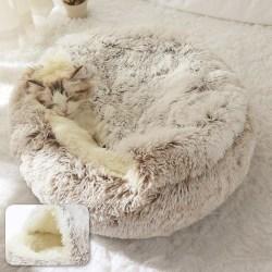 Husdjur säng, rund plysch katt varm mjuk lång boet 50x50cmCoffee Long Plush
