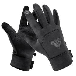 Män, kvinnor vintertema fleecehandskar med pekskärm, Dark Gray S/M