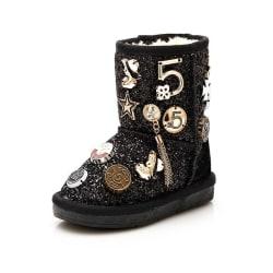 Vinter baby flicka snö mode mjuk boot Black 9.5