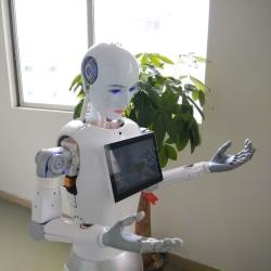 Utveckla projekt smart flygplats välkommen robot service av