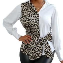 Leopard vit splitsning skjortor kvinnor båge midjeband blus White L
