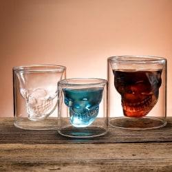 Kaffemugg dubbelskiktad transparent kristallskalhuvudglaskopp 25ml