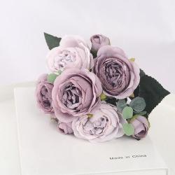Bukett huvuden konstgjorda blommor pion te steg höstsilke Grey Purple
