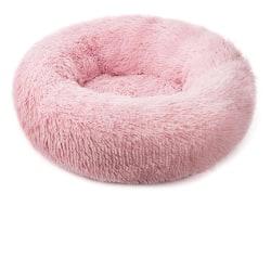 Rund plysch katt säng hus Beige Pink S-50cm