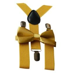 Barnjusterbara hängslen elastiska hängslen + massiv fluga set Yellow Size fits allOther