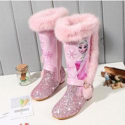 Elsa prinsessa barn nya vinterfrysta stövlar Pink 29