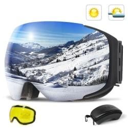 Uv400 skydd mot dimma snowboard skyddsglasögon & kvinnor Silver Lens