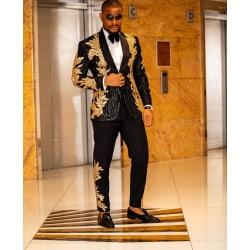Bröllopjacka och byxor för män med pärlor Gold MChina