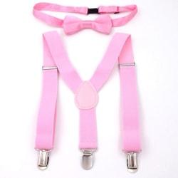 Justerbara och elastiska hängslen för barn med bowtie fluga pink