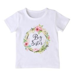 Kort ärm, casual matchande t-shirt och romper för lilla och Multi Big Sis 4 to 5Y