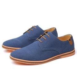 Oxford våren stora mockaskor män skor Blue 43