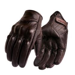 Pekskärm i läder, handskar med hel finger för elcykel, XLNon-perforated Brown