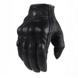 Retro jakt- perforerat läder vattentätt motorcykel handskar Lperforation