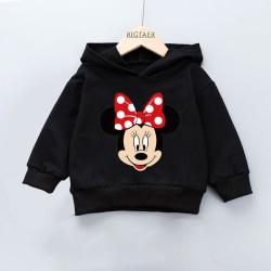 Vår och höst pojkar flickor huva tröja västerländsk stil A-Black Minnie 4T