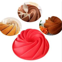 Spiral Bakform Sockerkaksform Silikonform Kakform Tårtform Röd