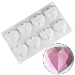Diamant Hjärta 8st Silikonform Mousseform Smash the Heart vit